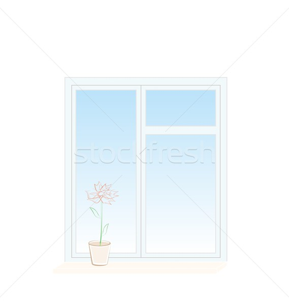 Illustration of flower in a pot on a window sill Stock photo © smeagorl