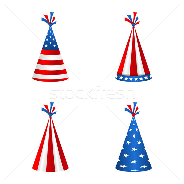 Set Party Hats with Flag of the United States of America. Accessory for American Holidays Stock photo © smeagorl