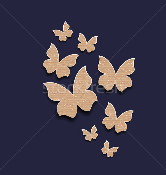 Stock photo: Dark background with butterflies made in carton paper