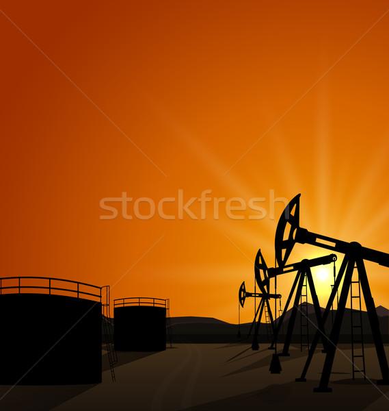 Olie pompen petroleum reserve zonsopgang illustratie Stockfoto © smeagorl