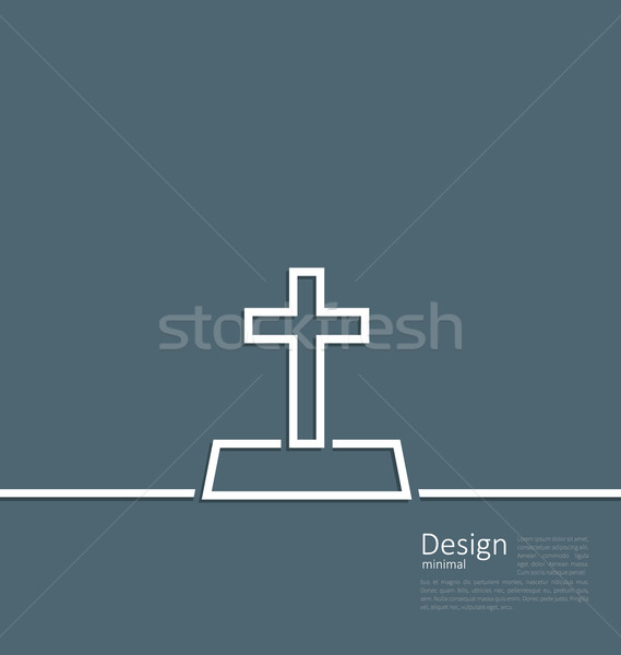 Logo of gravestone in minimal flat style line Stock photo © smeagorl