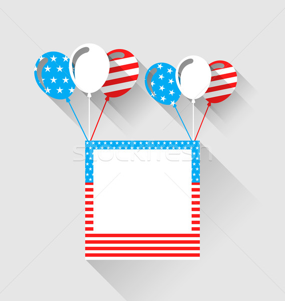 Photo frame and balloons in US national colors, long shadow styl Stock photo © smeagorl