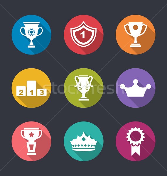 Establecer trofeo signos ilustración adjudicación Foto stock © smeagorl