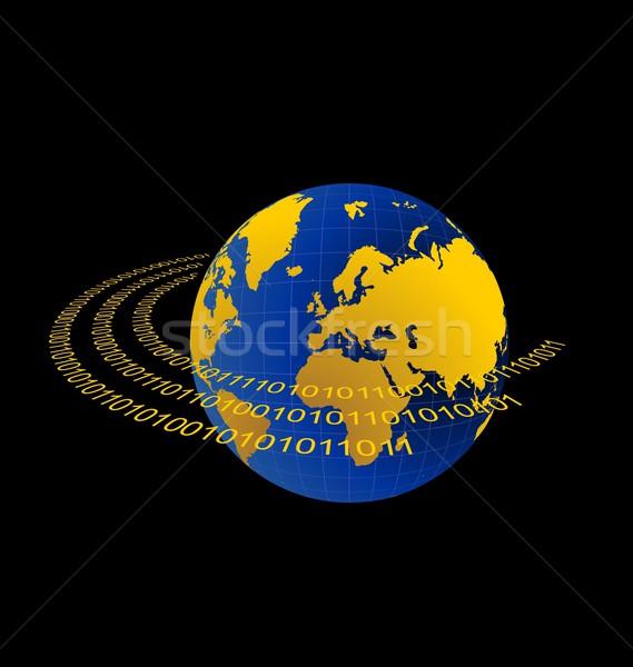 Illustration of data stream around terra planet Stock photo © smeagorl