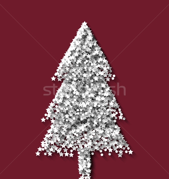 Tree fir xmas on red backdrop made from white hoarfrost particle Stock photo © smeagorl