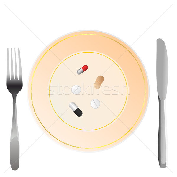 Iillustration of nutritional care represented by a few pills ser Stock photo © smeagorl