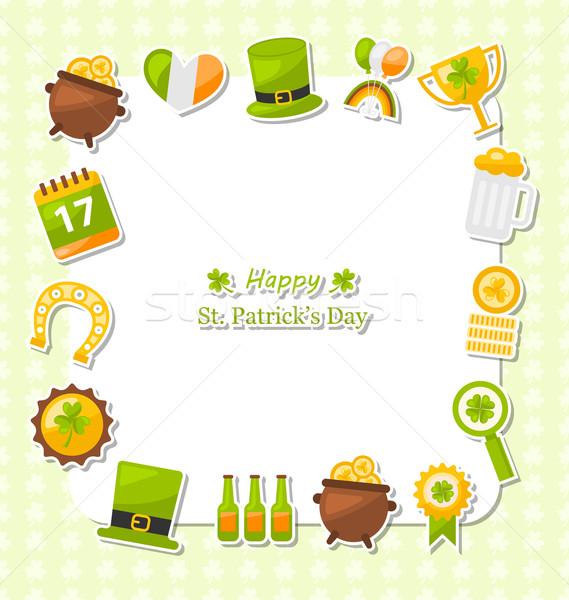 Célébration carte traditionnel symboles jour de St Patrick illustration Photo stock © smeagorl