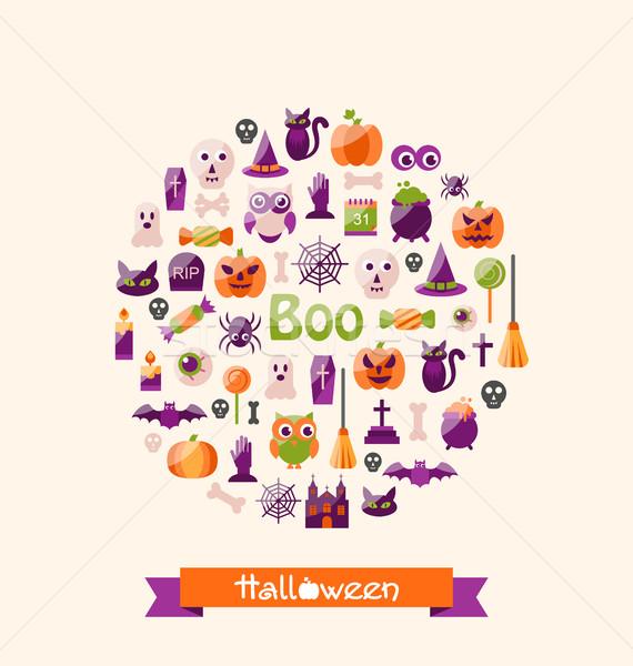 Halloween színes ikonok buli illusztráció gyertya Stock fotó © smeagorl