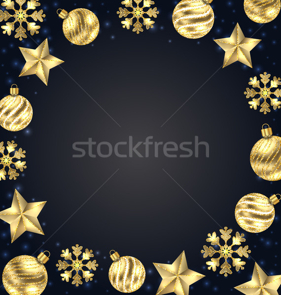 Christmas Frame of Golden Balls, Stars, Snowflakes Stock photo © smeagorl