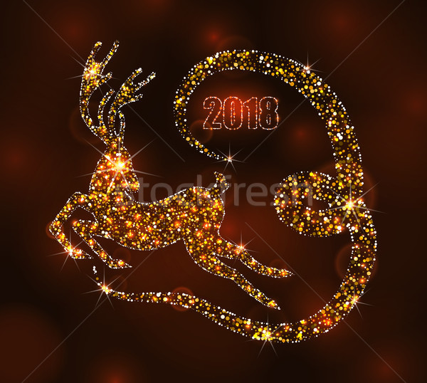 Christmas Light Deer for Happy New Year, Running Stag. Luxury Background Stock photo © smeagorl