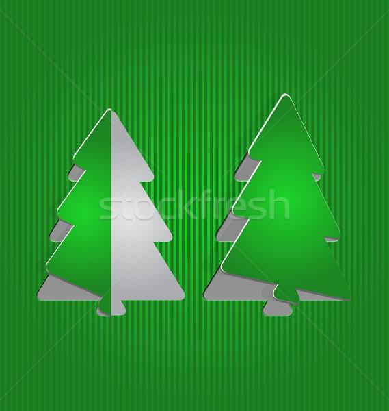 Christmas cutout paper tree, minimal background Stock photo © smeagorl