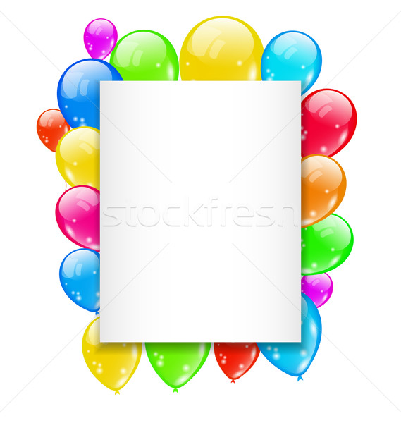 Birthday card with colorful balloons with space for text Stock photo © smeagorl