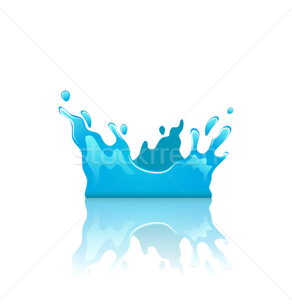 Blue water splash crown with reflection, isolated on white backg Stock photo © smeagorl