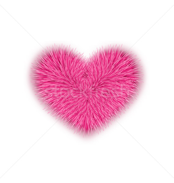 fur pink heart for Valentines Day isolated on white background Stock photo © smeagorl