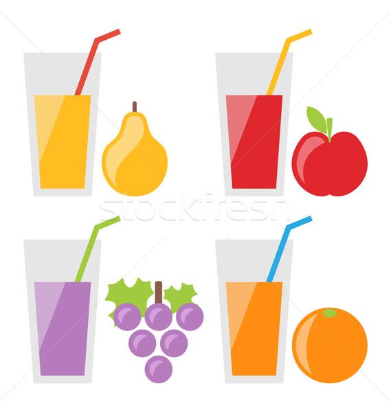 Set of Fresh Fruit Juices Stock photo © smeagorl