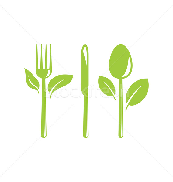 Healthy Food Icon with Cutlery and Leaves Stock photo © smeagorl