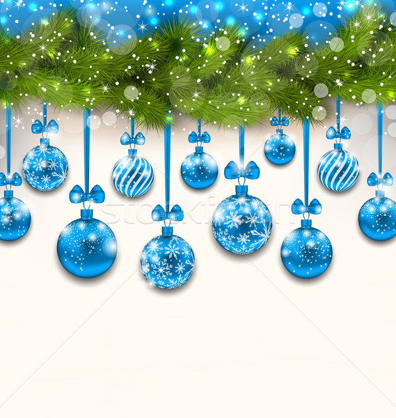 Shimmering Light Wallpaper with Fir Branches Stock photo © smeagorl