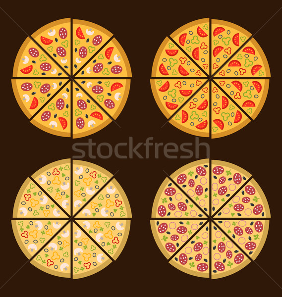 Collection of Different Pizza Isolated Stock photo © smeagorl