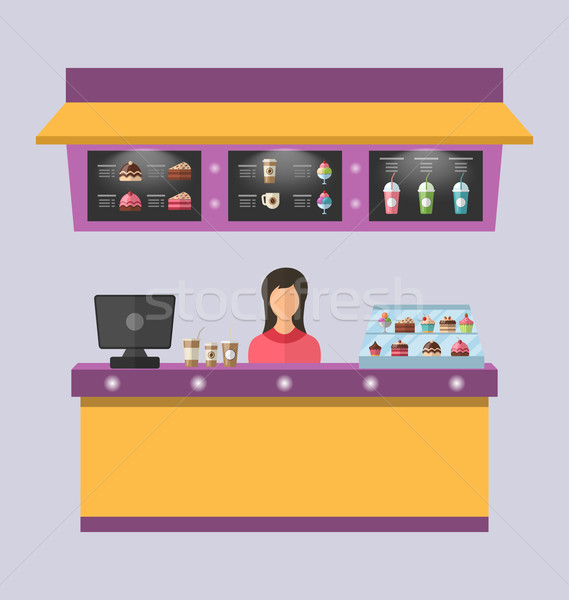 Sweet Shop with Cakes, Ice Creams, Stock photo © smeagorl
