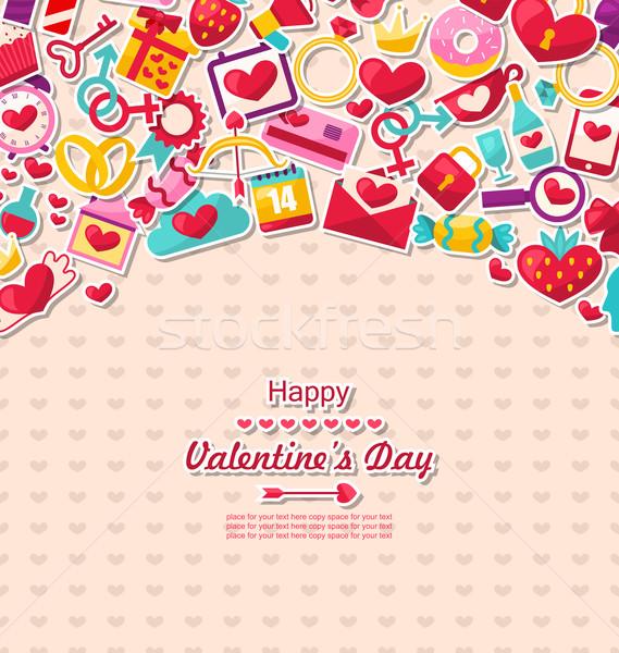 Tarjeta de felicitación día de san valentín ilustración San Valentín iconos bloqueo Foto stock © smeagorl