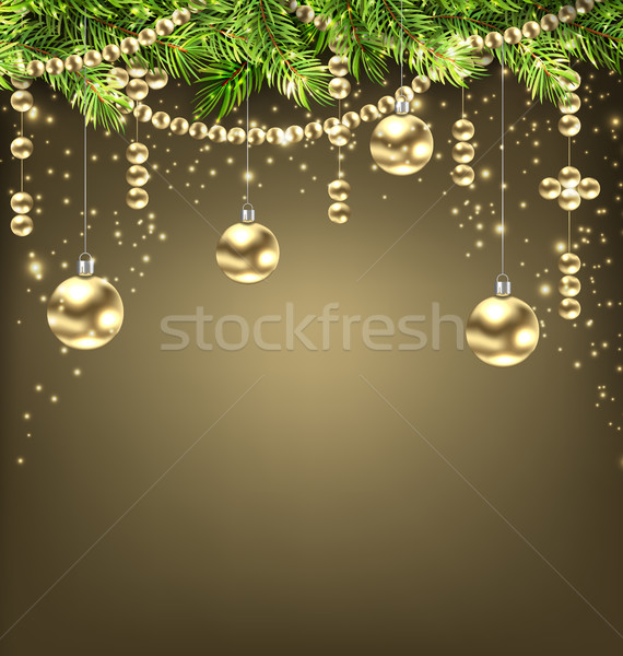 Shimmering Background with Fir Branches and Golden Christmas Balls Stock photo © smeagorl