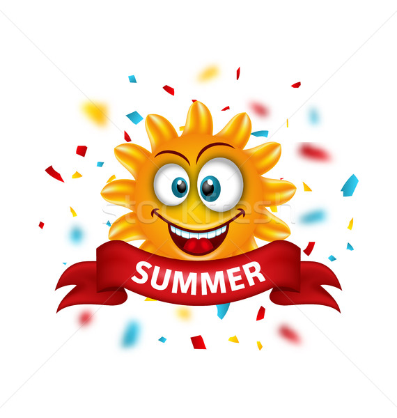 Summer Banner with Cartoon Smiling Sunny Stock photo © smeagorl