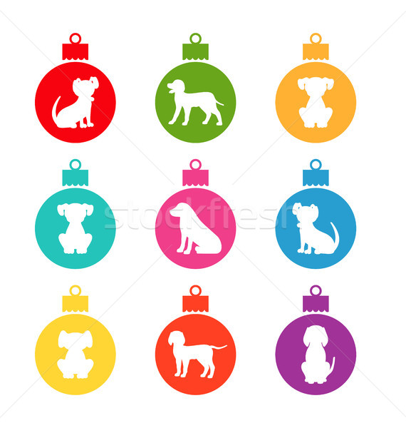 Colorful Christmas Balls with Different Dogs Stock photo © smeagorl