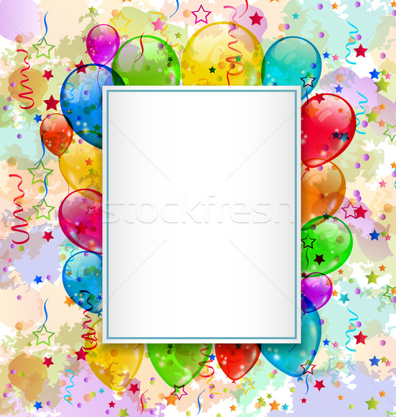 Birthday card with balloons and confetti Stock photo © smeagorl