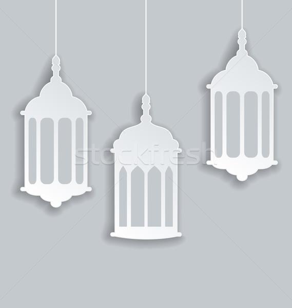Papír arab lámpa árnyék ramadán illusztráció Stock fotó © smeagorl
