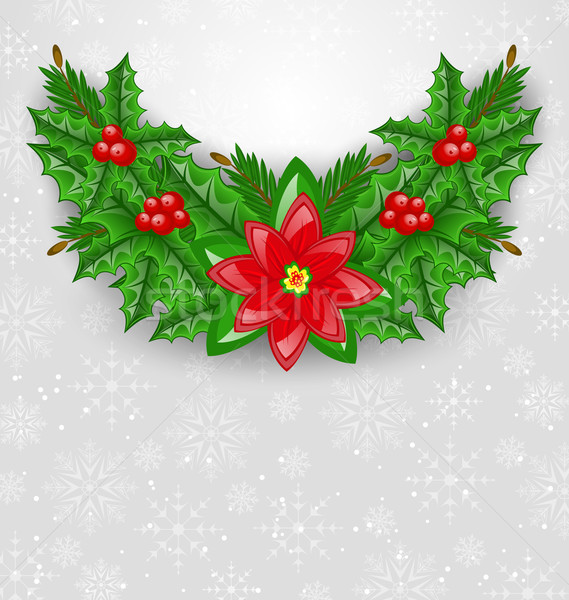 Christmas decoration with holly berry, pine and poinsettia Stock photo © smeagorl