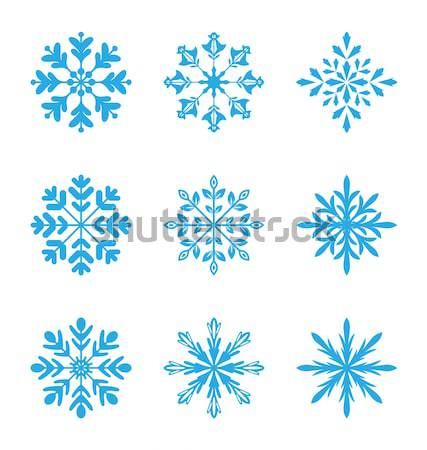 Ensemble variation flocons de neige isolé blanche illustration Photo stock © smeagorl