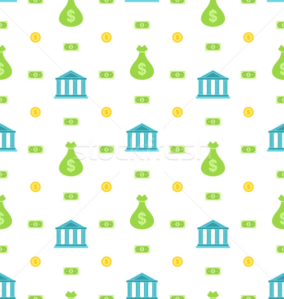 Seamless Pattern with Bank Institution, Bank Notes, Business Background Stock photo © smeagorl