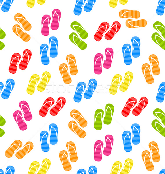 Seamless Pattern Colorful Pairs of flip-flops Stock photo © smeagorl
