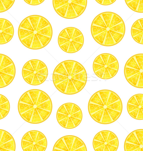 Seamless Texture with Slices of Lemons Stock photo © smeagorl