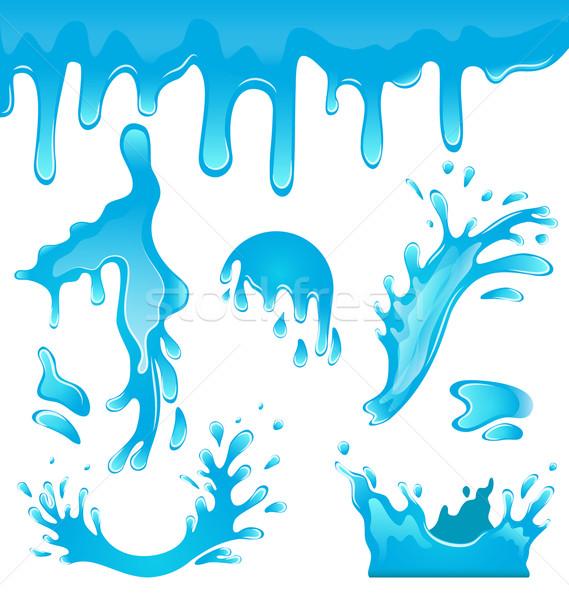 青 水滴 実例 波 クラウン ストックフォト © smeagorl