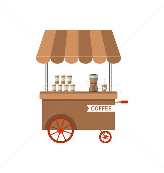 アイコン カート コーヒー 孤立した 白 実例 ストックフォト © smeagorl