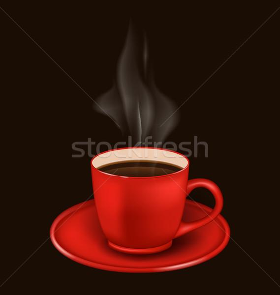 Kırmızı kahve kupa buhar örnek yalıtılmış gerçekçi Stok fotoğraf © smeagorl