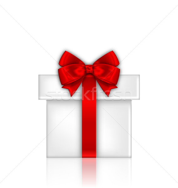 Gift Box with Red Bow Isolated on White Background Stock photo © smeagorl