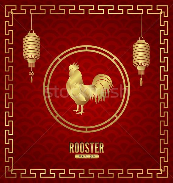 Anul nou chinezesc card felinare cocoş fericit Imagine de stoc © smeagorl