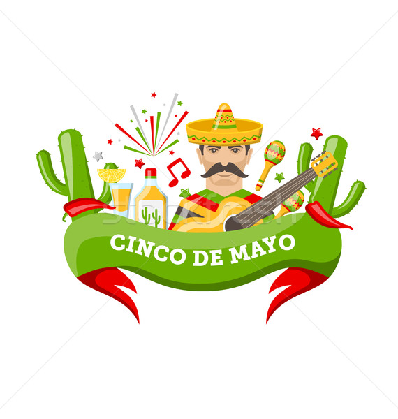 Cinco De Mayo Banner with Mexican Symbols and Objects Stock photo © smeagorl