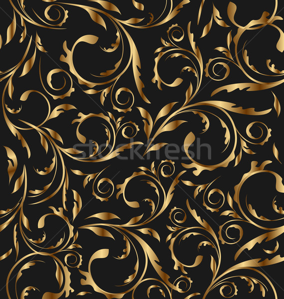 Golden seamless floral background, pattern for continuous replic Stock photo © smeagorl