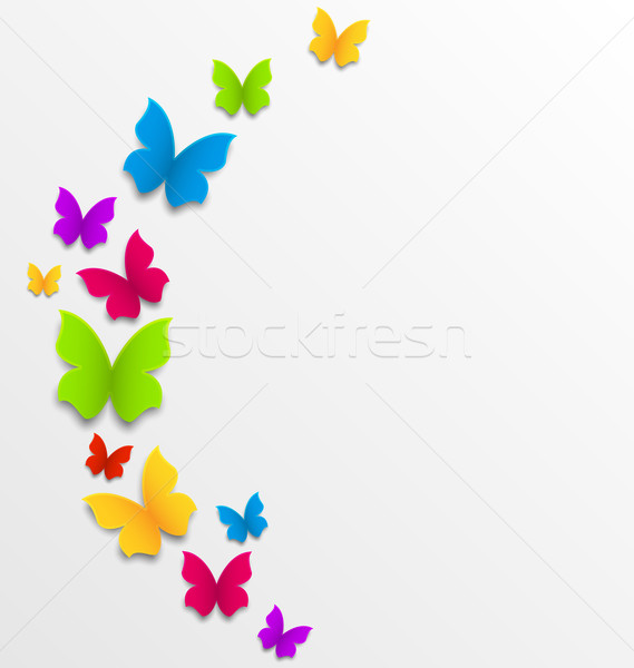 Résumé printemps Rainbow papillons illustration papier Photo stock © smeagorl