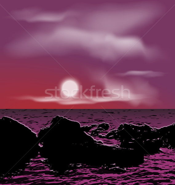 Outdoor background, sea stones during night Stock photo © smeagorl
