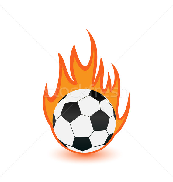 Football balls in orange fire flames Stock photo © smeagorl