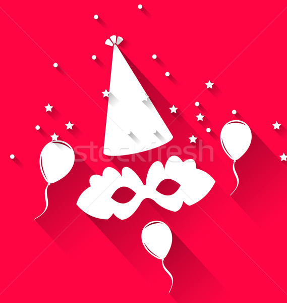 Carnival background with party hat, balloons, and mask Stock photo © smeagorl