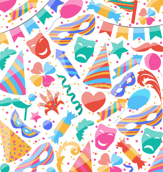 Festive wallpaper with carnival and party colorful icons and obj Stock photo © smeagorl