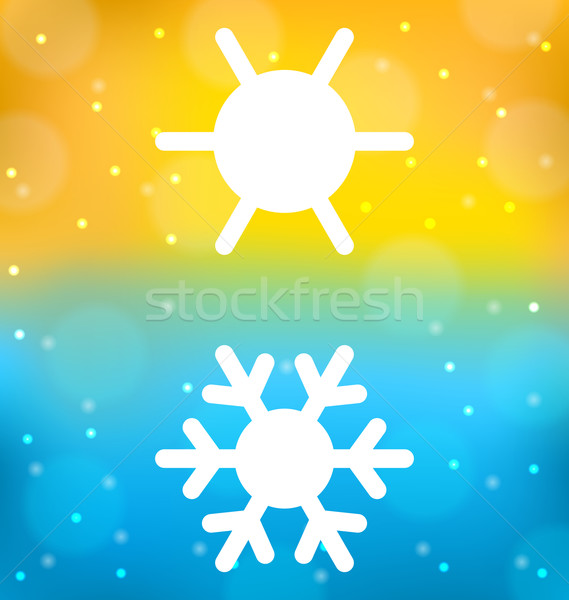 Abstract background with logo of symbol climate balance - sun an Stock photo © smeagorl