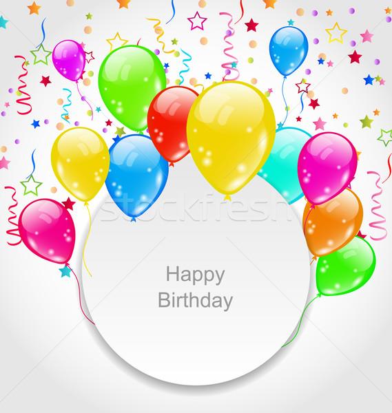 Stockfoto: Gelukkige · verjaardag · kaart · ingesteld · ballonnen · confetti · illustratie