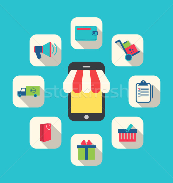 Concept of Online Shop, E-commerce, Colorful Simple Icons  Stock photo © smeagorl