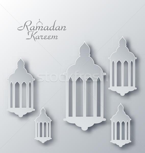 Paper Arabic Lamps with Shadows for Ramadan Kareem Stock photo © smeagorl